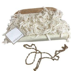 SHIRALEAH Cream Canvas Fringe Wood Clutch Bag NWT